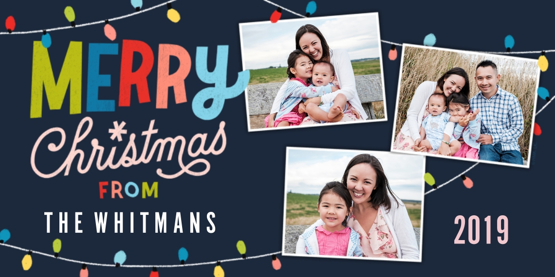 Christmas Photo Cards Flat Glossy Photo Paper Cards with Envelopes, 4x8, Card & Stationery -2019 Merry Christmas Lights by Hallmark
