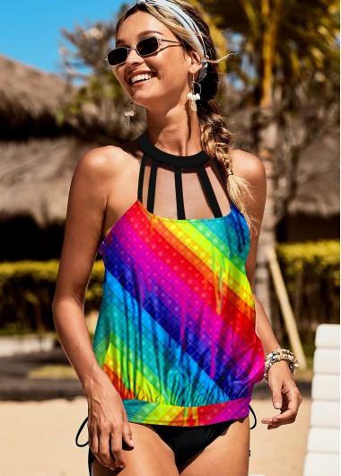 Halter Rainbow Stripe Multi Color Tankini Set - XS