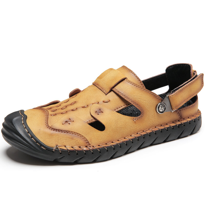 Men Cow Leather Hand Stitching Non Slip Hook Loop Casual Sandals