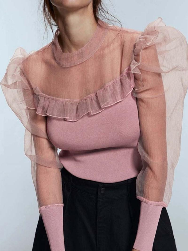 Ericdress Plain Long Sleeve Standard Slim Elegant T-Shirt