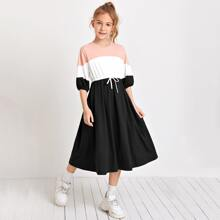 Girls Lantern Sleeve Colorblock Dress