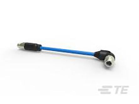 TE Connectivity Straight M12 to Right Angle M12 Industrial Automation Cable Assembly, 4 Core 15m Cable