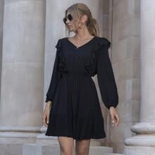 A-Linie Kleid mit Punkten Muster und Rueschen