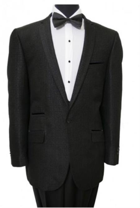 Tazio Fancy Houndstooth Check Single Breasted 1 Button Jacket Black
