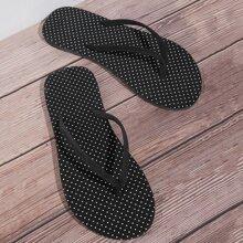 Polka Dot Pattern Flip Flops