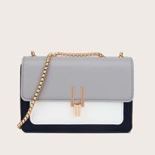 Color Block Flap Chain Shoulder Bag