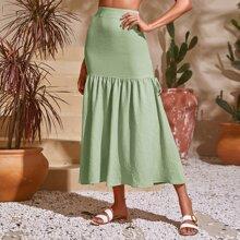 Solid Ruffle Hem Tie Side Skirt