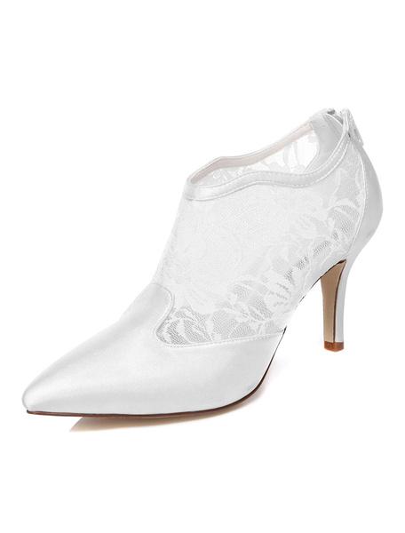 Milanoo Zapatos de novia de encaje 8cm Zapatos de Fiesta Zapatos blanco  de tacon de stiletto Zapatos de boda de puntera puntiaguada de encaje