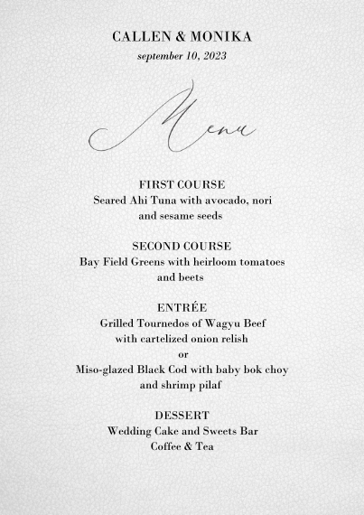 Menus 5x7 Cards, Premium Cardstock 120lb with Scalloped Corners, Card & Stationery -Pure Love Menu