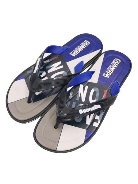 Milanoo Sandal Slippers Blue PVC Upper Round Toe Slip-On Beach Sandal Flip Flops