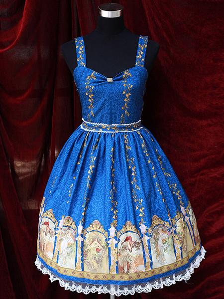 Milanoo Sweet Straps Neck Print Cotton Blend Lolita Jumper Skirt  Original Design