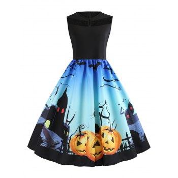 Lace Panel Bat Pumpkin Ombre Halloween Dress