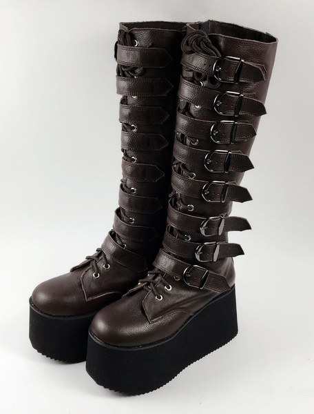 Milanoo Punk Lolita Boots Round Toe Platform Buckled PU Dark Brown Lolita Shoes