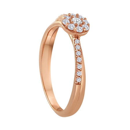 1/5 CT. T.W. Diamond 10K Rose Gold Bridal Ring, 7 , Pink