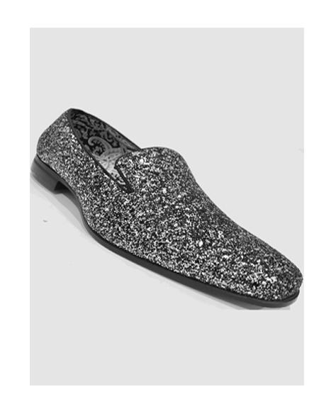 Mens Silver Slip On Style Shoes