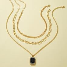 3pcs Gemstone Decor Geometric Charm Necklace