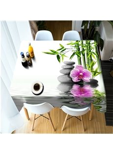 3D Green Bamboos and Stone Flowers Printed Fresh and Pastoral Style Table Cover