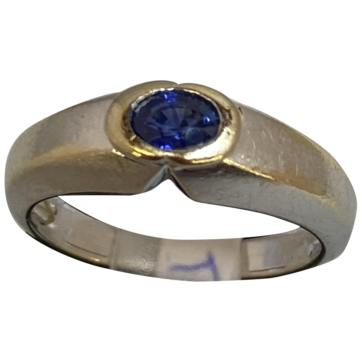 Non Signe / Unsigned Saphir Ring in  Silber Ketten