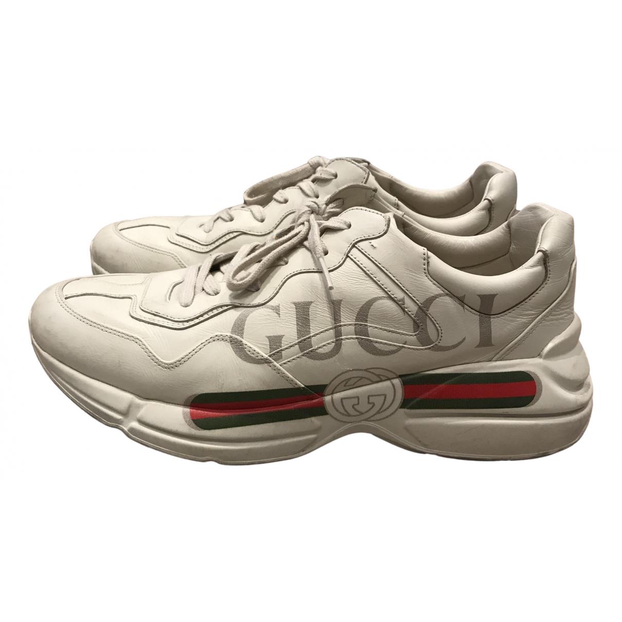 Gucci Rhyton Sneakers in  Ecru Leder