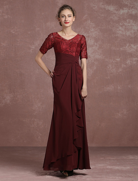 Milanoo Burgundy Evening Dress Lace Pleated Mother's Dress V Neck Half Sleeve Floor Length Mermaid Party Dress