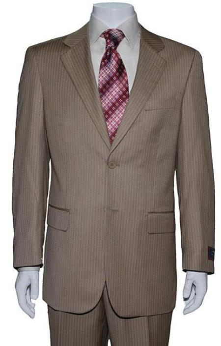 Mens Two Button Tan Mini Pinstripe Suit