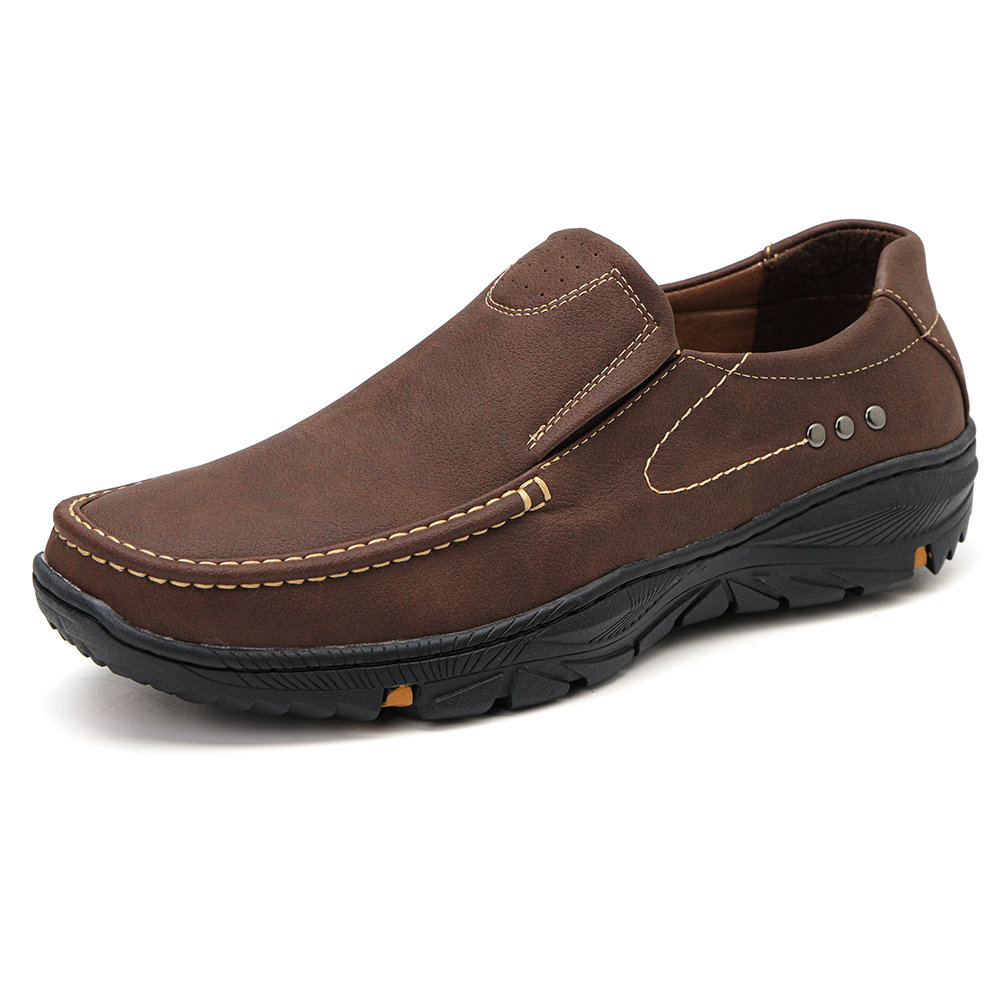 Men Micorfiber Leather Non Slip Slip On Outdoor Casual Shoes