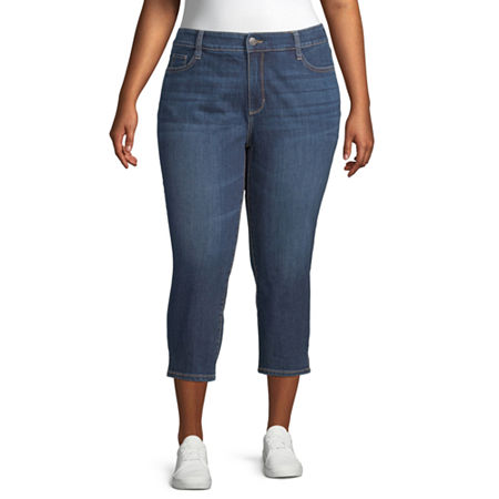 St. John's Bay Mid Rise Plus Cropped Pants, 20w , Blue