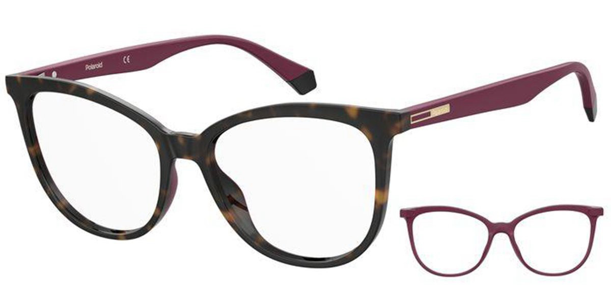 Polaroid PLD D406 with Clip On 65T Women's Glasses  Size 54 - Free Lenses - HSA/FSA Insurance - Blue Light Block Available