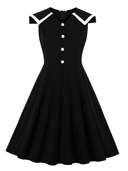Milanoo Vintage Dress Womens Black Sleeveless Buttons 1950s Swing Retro Dresses