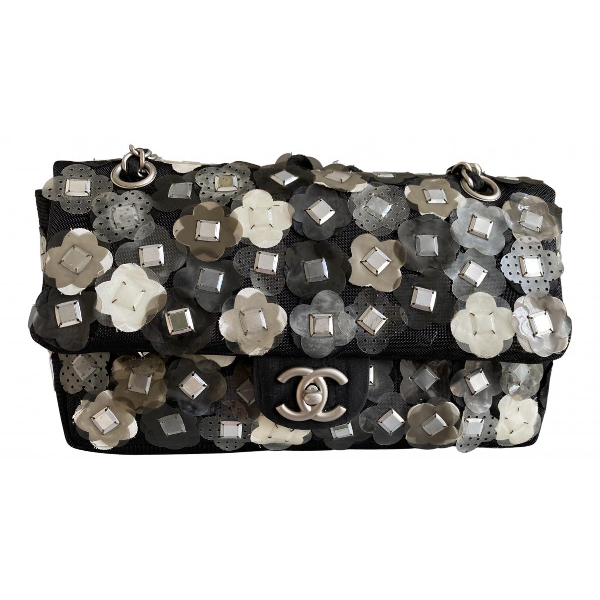 Chanel - Sac a main Timeless/Classique pour femme en toile - noir