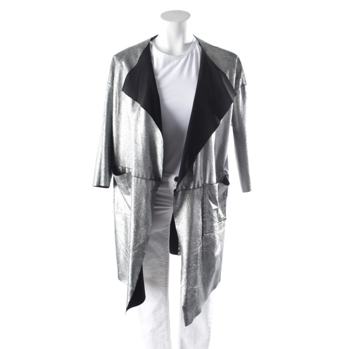 Non Signé / Unsigned \N Metallic Leather jacket for Women 36 FR