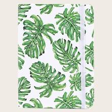 1pack Leaf Print Cover Random Notebook
