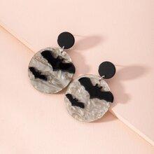 Bat Decor Round Drop Earrings