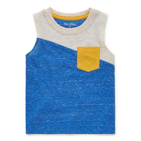 Okie Dokie Baby Boys Crew Neck Sleeveless Muscle T-Shirt, Newborn , White