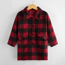 Toddler Boys Buffalo Plaid Button Up Overcoat