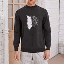 Guys Feather Graphic Sweater