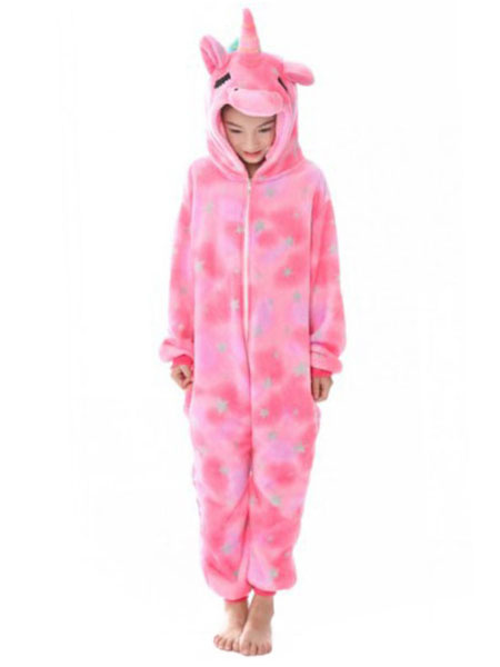 Milanoo Kids Unicorn Kigurumi Onesie Pajamas Pink Dreaming Star Flannel Winter Sleepwear Mascot Animal Halloween Costume