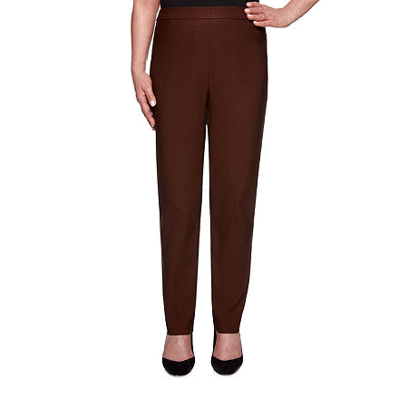 Alfred Dunner Classics Womens Allure Stretch Pant, 14 Short , Brown