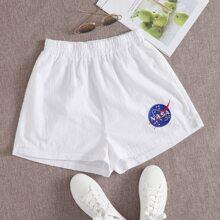 Nasa Graphic White Shorts