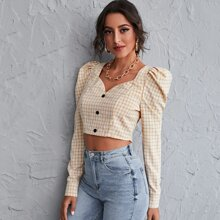 Sweetheart Neck Leg-of-mutton Sleeve Buttoned Front Plaid Top