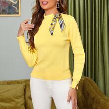 Pullover mit Kontrast und Halsband
