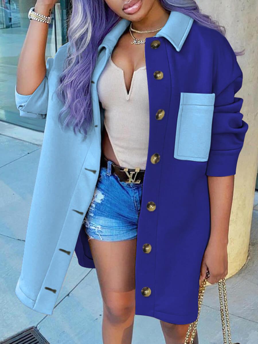 LW Lovely Trendy Turndown Collar Patchwork Blue Trench Coat
