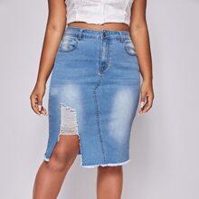 Plus Ripped Raw Hem Denim Skirt