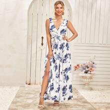 A Linie Kleid mit Schlitz, Blumen Muster und Guertel
