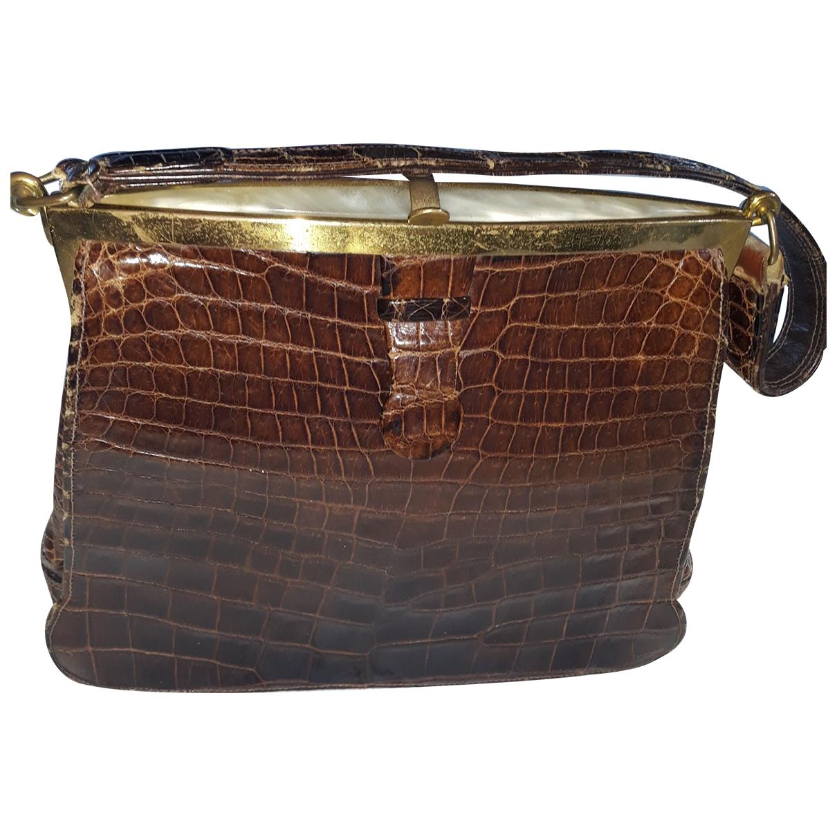 Non Signe / Unsigned \N Handtasche in  Braun Krokodil