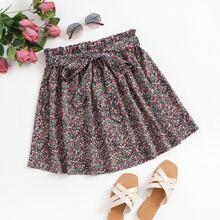 Ditsy Floral Print Paperbag Waist Belted Skirt