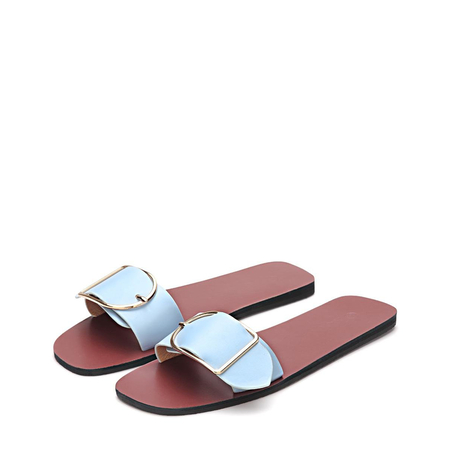Yoins Light Blue One Pin Buckle Strap Simple Slippers