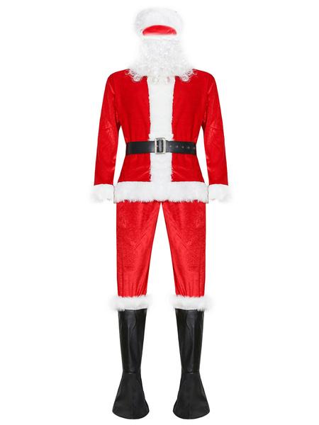 Milanoo Men Christmas Set Furry Christmas Pattern Santa Clause Red Holidays Costumes