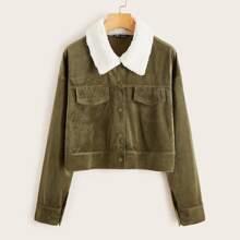 Contrast Collar Corduroy Jacket