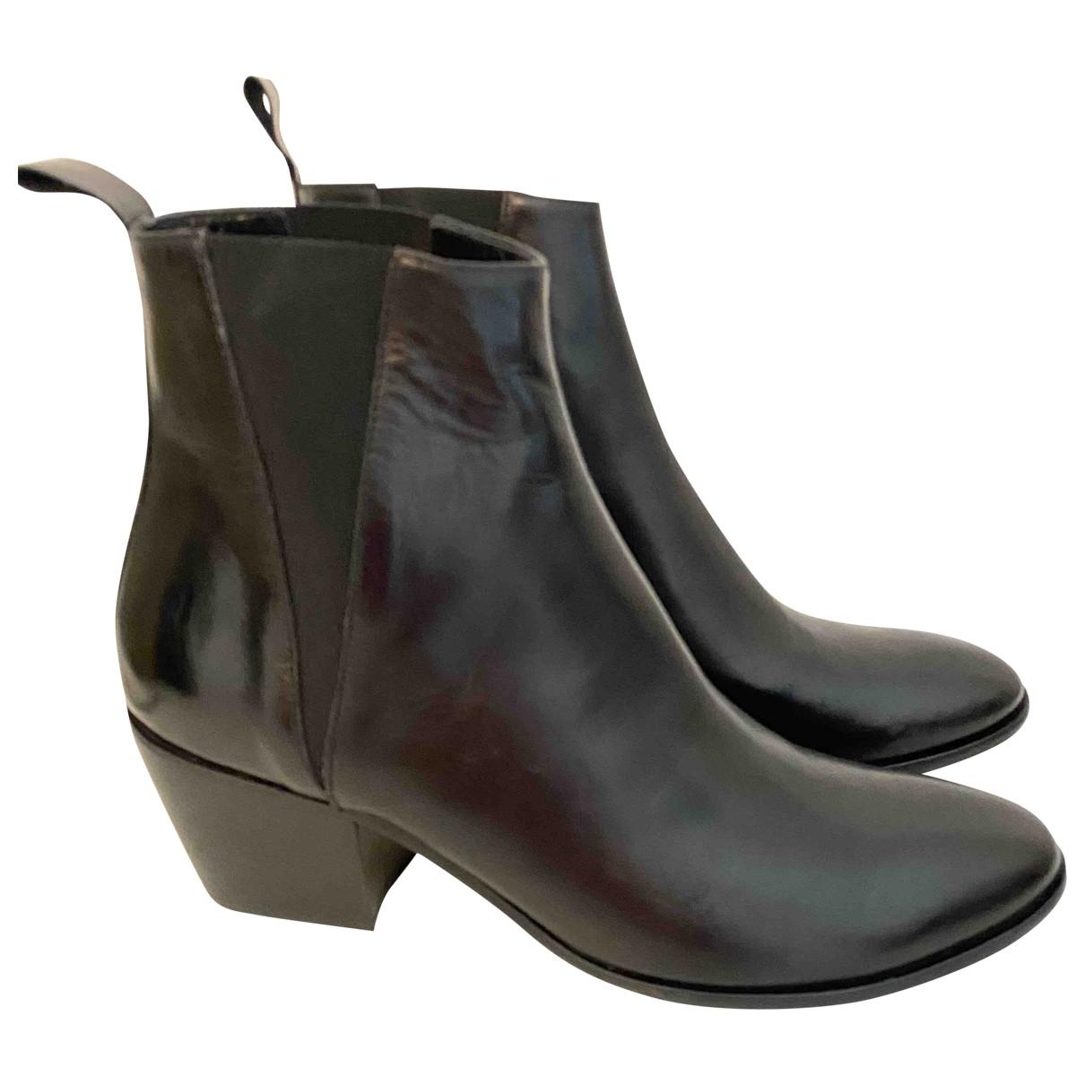 Agnes B. - Bottes   pour femme en cuir - noir
